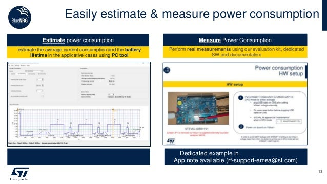 Easily estimate & measure power consumption 13 sleeping : 1µA • RAM retention • Wake up from RTC, stack and Ios capable Tx...