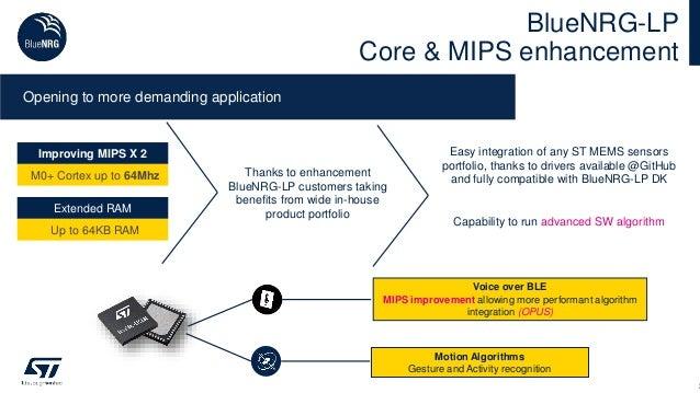 BlueNRG-LP Core & MIPS enhancement 2 Opening to more demanding application Easy integration of any ST MEMS sensors portfol...