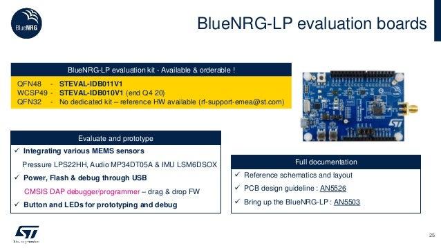 BlueNRG-LP evaluation boards 25 BlueNRG-LP evaluation kit - Available & orderable ! QFN48 - STEVAL-IDB011V1 WCSP49 - STEVA...