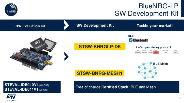 BlueNRG-LP SW Development Kit 27 SW Development KitHW Evaluation Kit Tackle your market! Free of charge Certified Stack: B...