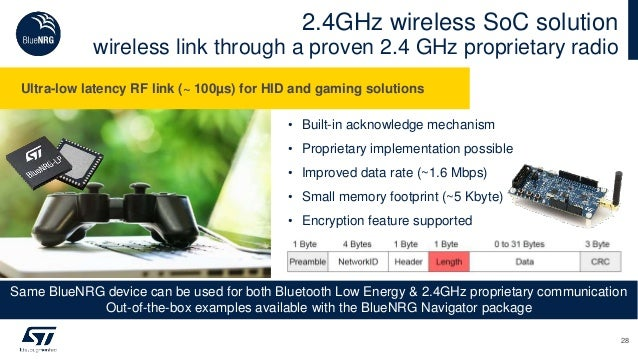 • Built-in acknowledge mechanism • Proprietary implementation possible • Improved data rate (~1.6 Mbps) • Small memory foo...