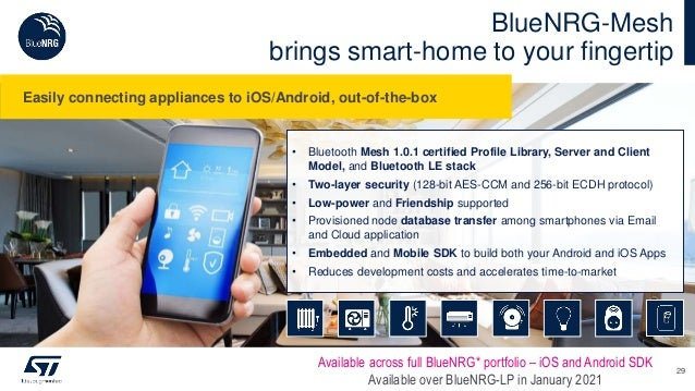 BlueNRG-Mesh brings smart-home to your fingertip Available across full BlueNRG* portfolio – iOS and Android SDK Available ...