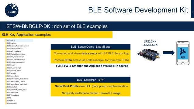 31 BLE Key Application examples BLE Software Development Kit STSW-BNRGLP-DK : rich set of BLE examples BLE_SensorDemo_Blue...