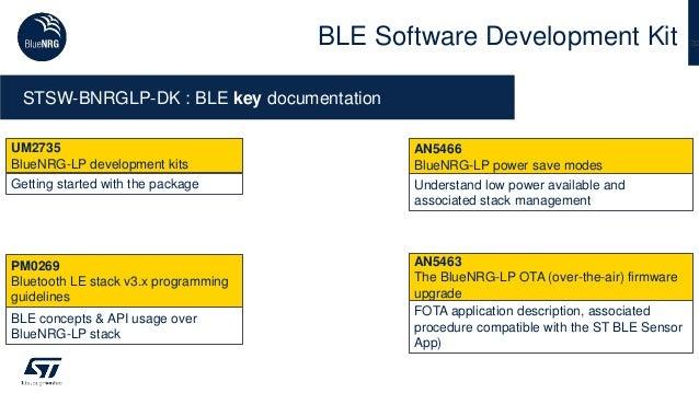 32BLE Software Development Kit STSW-BNRGLP-DK : BLE key documentation PM0269 Bluetooth LE stack v3.x programming guideline...
