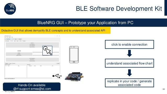38 BLE Software Development Kit BlueNRG GUI – Prototype your Application from PC Didactive GUI that allows demystify BLE c...