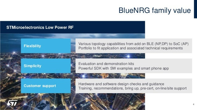 BlueNRG family value 4 Various topology capabilities from add on BLE (NP,DP) to SoC (AP) Portfolio to fit application and ...