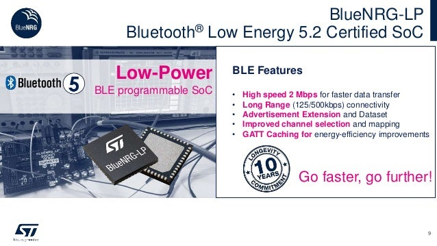 BlueNRG-LP Bluetooth® Low Energy 5.2 Certified SoC 9 BLE Features • High speed 2 Mbps for faster data transfer • Long Rang...