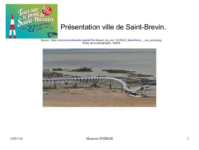 15/01/16 Maureen POIRIER 1 Présentation ville de Saint-Brevin. Source : https://commons.wikimedia.org/wiki/File:Serpent_de...