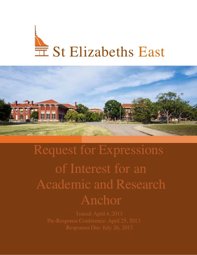 1Request for Expressionsof Interest for anAcademic and ResearchAnchorIssued:April 4,2013Pre-Response Conference: April 25,...