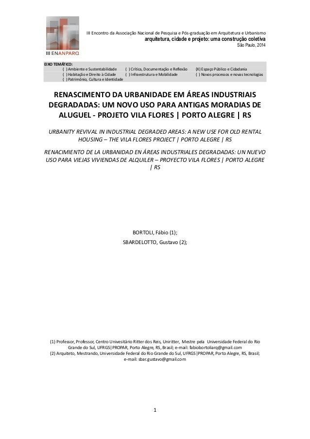 III Encontro da Associação Nacional de Pesquisa e Pós-graduação em Arquitetura e Urbanismo  arquitetura, cidade e projeto:...