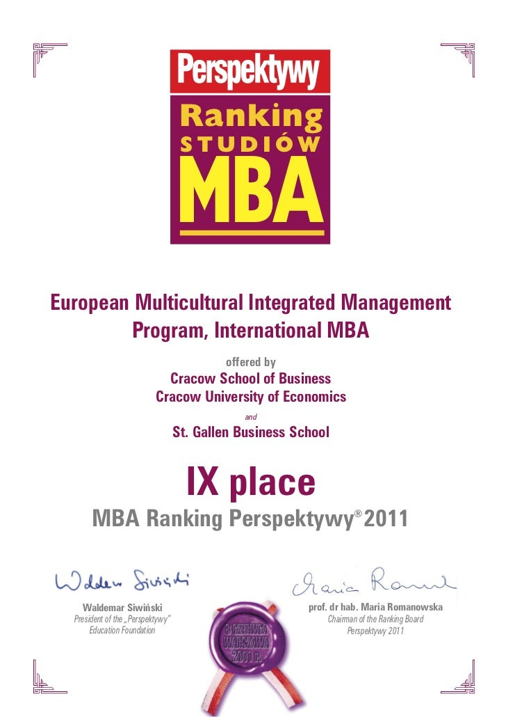 Ranking                                   MBA                                    studiówEuropean Multicultural Integrated ...