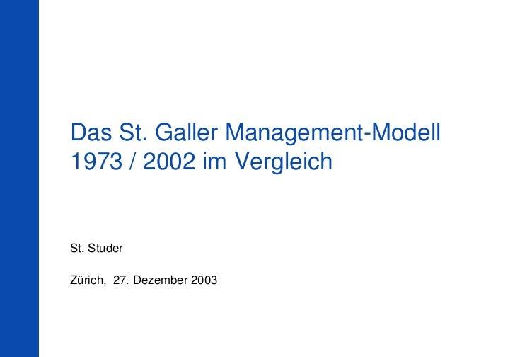 Das St. Galler Management-Modell1973 / 2002 im VergleichSt. StuderZürich, 27. Dezember 2003