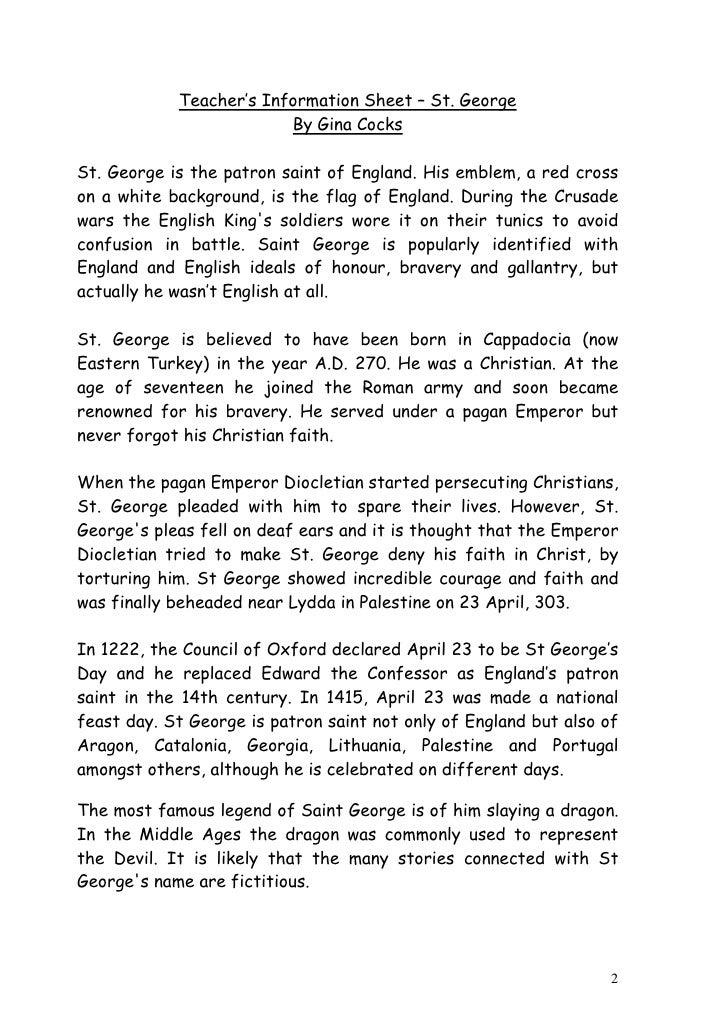 Information About St George S Day For Kids