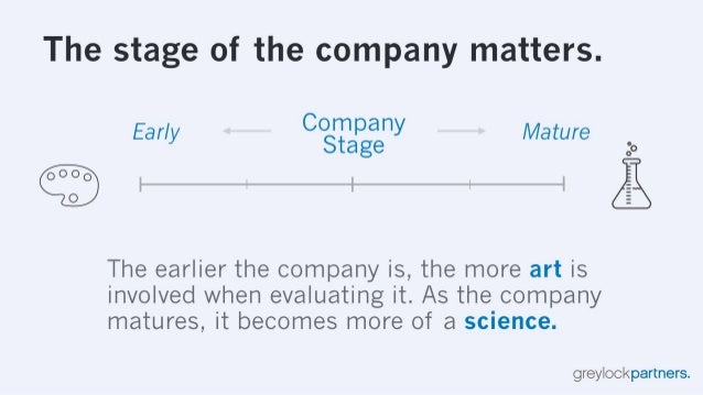 The stage of the company matters.   Early CO3Tapgaeny Mature :0     0000 O  The earlier the company is,  the more art is i...