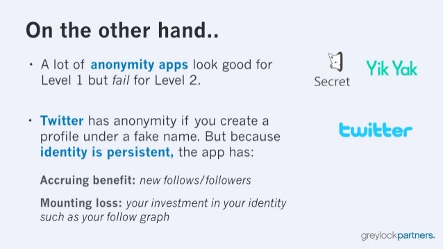 1.  Uri the other l1anc! ..  - A lot of anonymity apps look good for Level 1 but fail for Level 2.  - Twitter has anonymit...