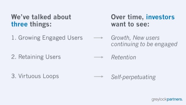 We've talked about Over time,  investors three things:  want to see:   1. Growing Engaged Users —> Growth,  New users cont...