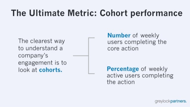 The Ultimate Metric:  Cohort performance  Number of weekly  The dearest Way users completing the  to understand a core act...