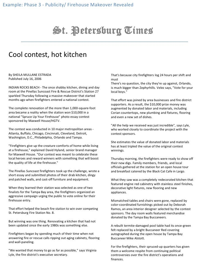 Example: Phase 3 - Publicity/ Firehouse Makeover Revealed <br />Cool contest, hot kitchen <br />By SHEILA MULLANE ESTRADA<...