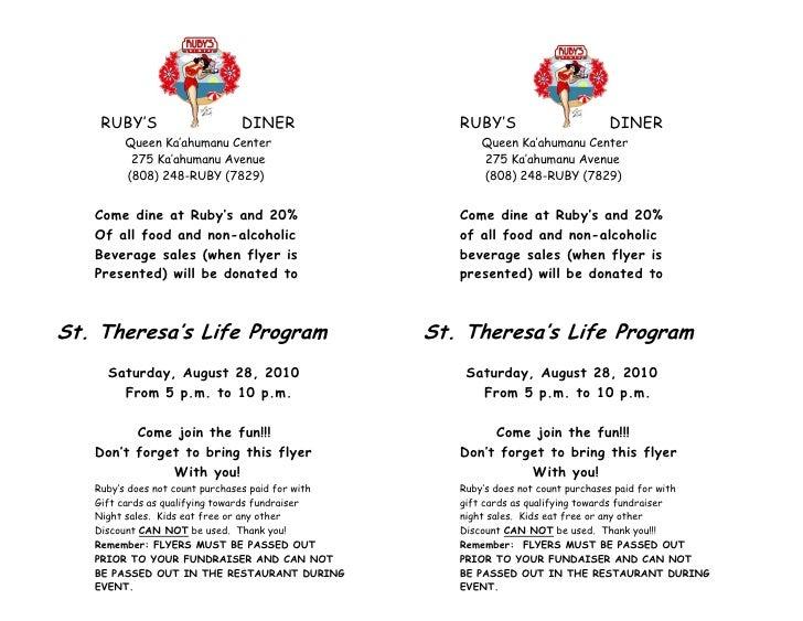 st theresa s life teem program fundraiser flyer