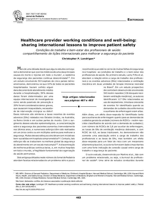 0021-7557/11/87-06/463  Jornal de Pediatria  Editoriais  Copyright © 2011 by Sociedade Brasileira de Pediatria  Healthcare...