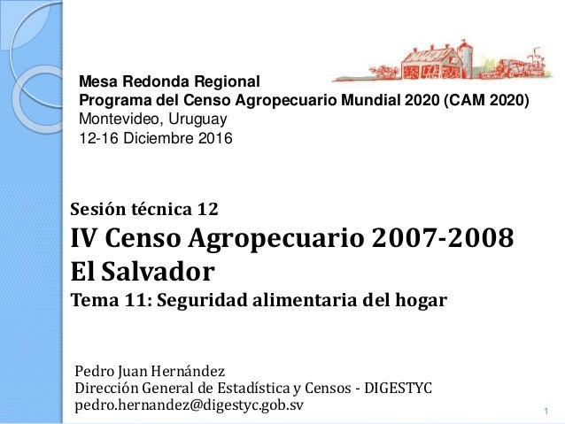 Mesa Redonda Regional Programa del Censo Agropecuario Mundial 2020 (CAM 2020) Montevideo, Uruguay 12-16 Diciembre 2016 Ped...