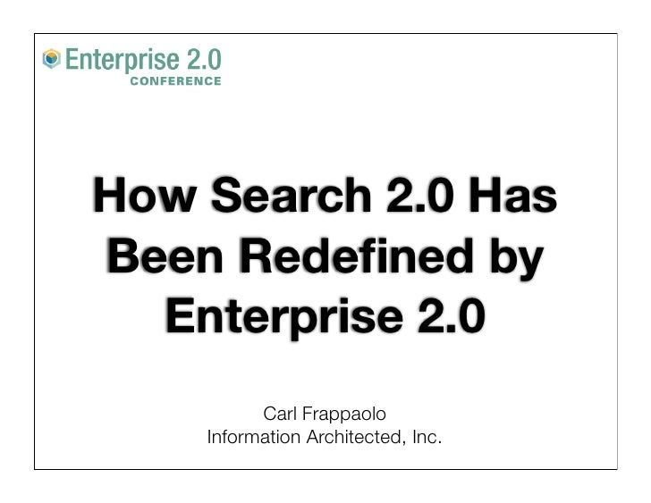 How Search 2.0 Has Been Redefined by   Enterprise 2.0           Carl Frappaolo     Information Architected, Inc.