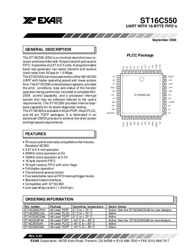 ST16C550                                                                                       UART WITH 16-BYTE FIFO's   ...