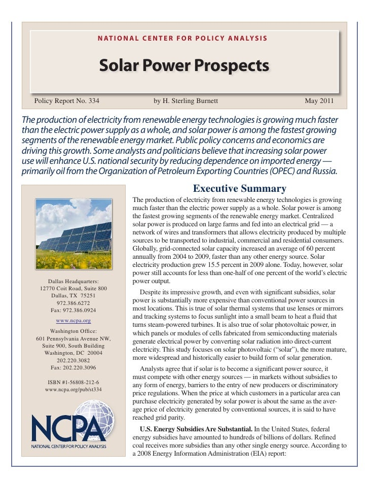 N AT I O N A L C E N T E R F O R P O L I C Y A N A LY S I S                           Solar Power Prospects   Policy Repor...