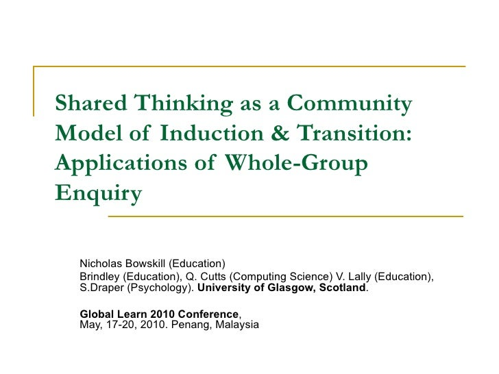 Shared Thinking as a Community Model of Induction & Transition: Applications of Whole-Group Enquiry Nicholas Bowskill (Edu...