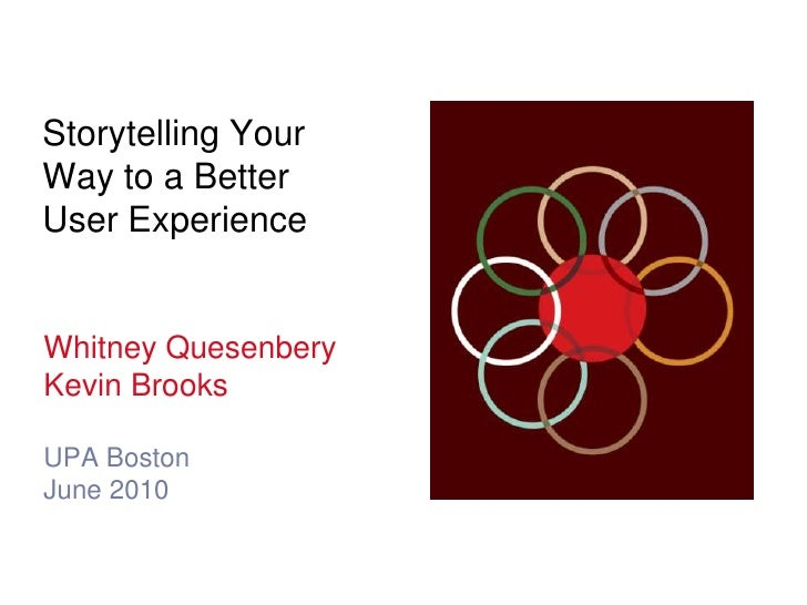 Storytelling YourWay to a BetterUser Experience<br />Whitney Quesenbery<br />Kevin Brooks<br />UPA Boston<br />June 2010<b...