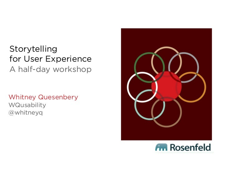 Storytellingfor User ExperienceA half-day workshopWhitney QuesenberyWQusability@whitneyq