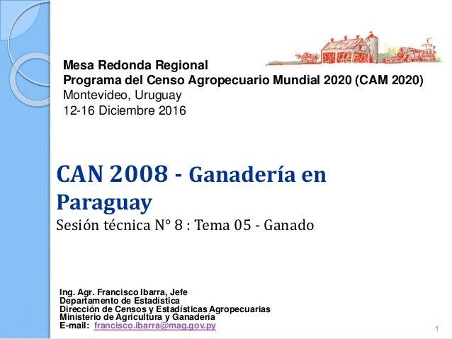 Mesa Redonda Regional Programa del Censo Agropecuario Mundial 2020 (CAM 2020) Montevideo, Uruguay 12-16 Diciembre 2016 Ing...