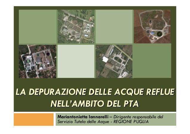 La depurazione delle acque reflue nell'ambito del PTA