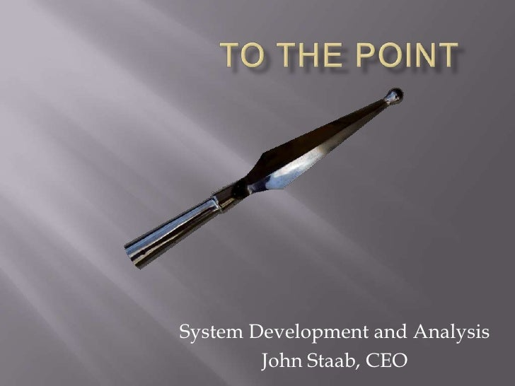 To the Point<br />System Development and Analysis<br />John Staab, CEO<br />