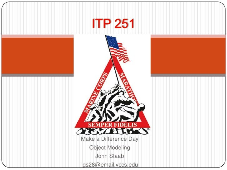 ITP 251<br />Make a Difference Day<br />Object Modeling<br />John Staab<br />jgs28@email.vccs.edu<br />