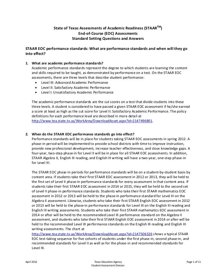 State of Texas Assessments of Academic Readiness (STAARTM)                                 End-of-Course (EOC) Assessments...