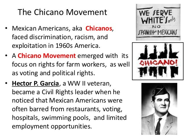 thesis statement for chicano movement The united farm workers movement: cesar chavez essay 1114 words | 5 pages many movements rose such as the counterculture movement, the hippie movement, the environmental movement, the sclc, the sncc, the native american movement, women's civil rights, united farm workers, etc.