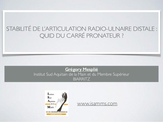 STABILITÉ DE L'ARTICULATION RADIO-ULNAIRE DISTALE : QUID DU CARRÉ PRONATEUR ? Grégory Mesplié Institut Sud Aquitain de la ...