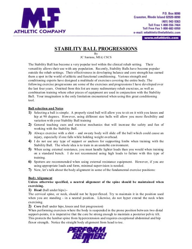 STABILITY BALL PROGRESSIONS By JC Santana, MEd, CSCS The Stability Ball has become a very popular tool within the clinical...