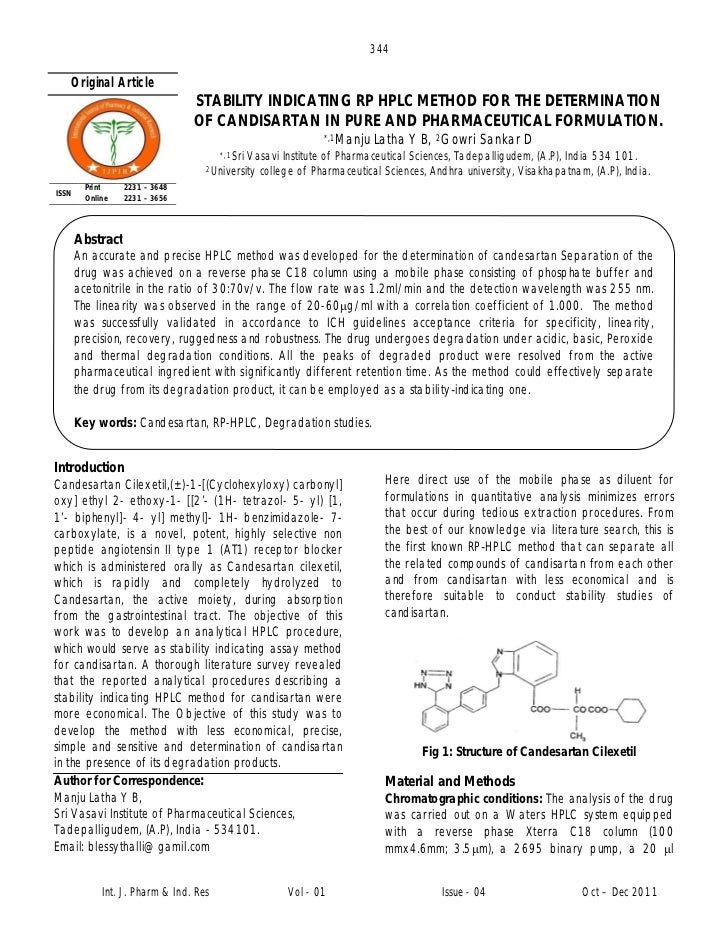 344   Original Article                                 STABILITY INDICATING RP HPLC METHOD FOR THE DETERMINATION          ...