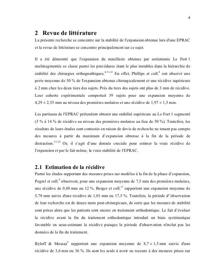 42 Revue de littératureLa présente recherche se concentre sur la stabilité de lexpansion obtenue lors dune EPRACet la revu...