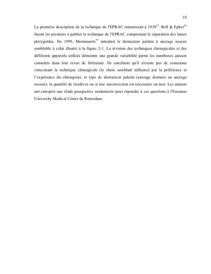 10La première description de la technique de lEPRAC remonterait à 193837. Bell & Epker38furent les premiers à publier la t...