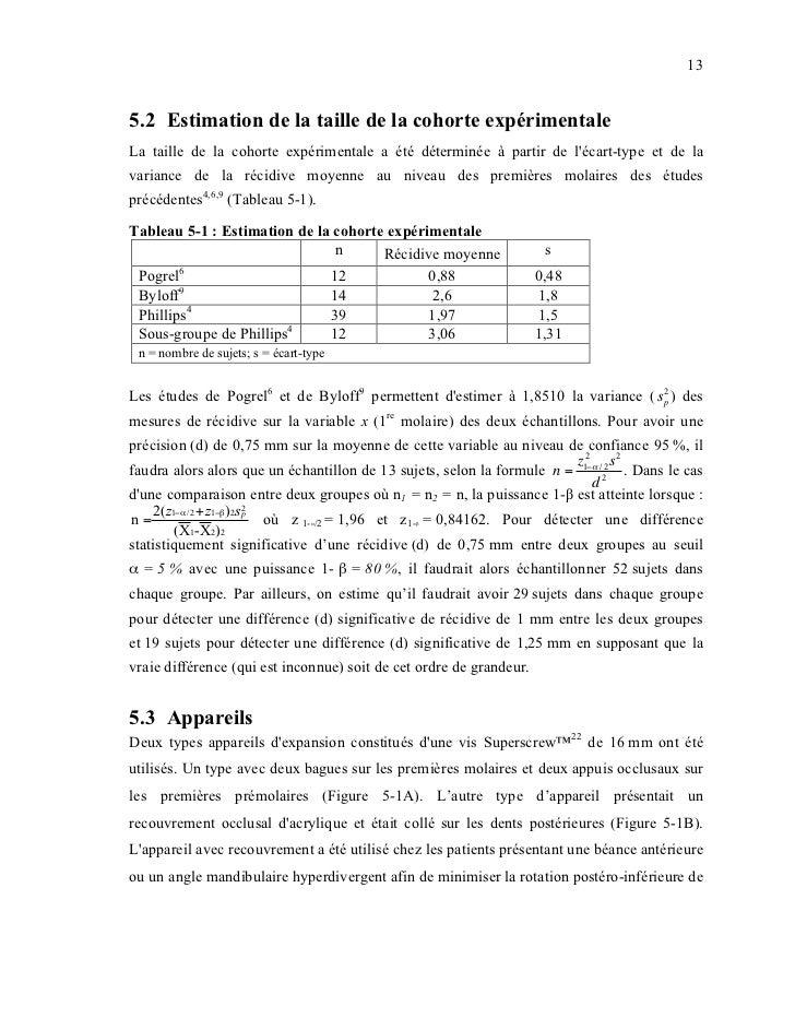135.2 Estimation de la taille de la cohorte expérimentaleLa taille de la cohorte expérimentale a été déterminée à partir d...