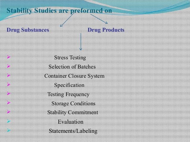 Stability Studies are preformed on Drug Substances Drug Products  Stress Testing  Selection of Batches  Container Closu...