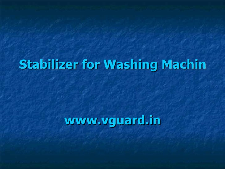Stabilizer for Washing Machine www.vguard.in