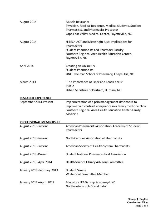 resume for pharmacy school - Health Science Student Resume