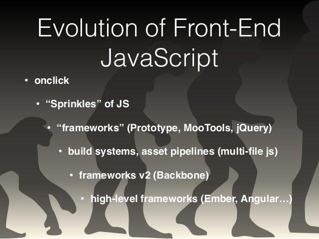 "Evolution of Front-End  JavaScript  • onclick!  • ""Sprinkles"" of JS!  • ""frameworks"" (Prototype, MooTools, jQuery)!  • bui..."