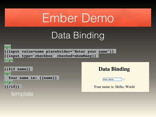 """Ember Demo  Data Binding  <p>!  {{input value=name placeholder=""""Enter your name""""}}!  {{input type='checkbox' checked=showM..."""