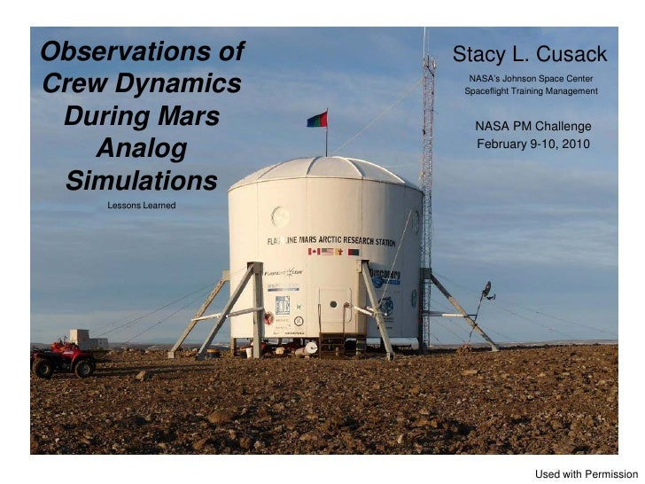 Observations of        Stacy L. CusackCrew Dynamics            NASA's Johnson Space Center                        Spacefli...