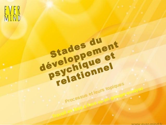 Stades du développement psychique et relationnel Processus et leurs topiques Travail en face à face ou en groupe-analyse ~